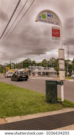 QUEENSLAND, AUSTRALIA - FEBRUARY 2, 2018 : One of the bus stops is beside Old Cleveland Rd but the name on the sign means this bus stop next to it, Cooparoo