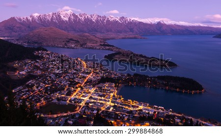 Queenstown aerial view at twilight. New Zealand - stock photo
