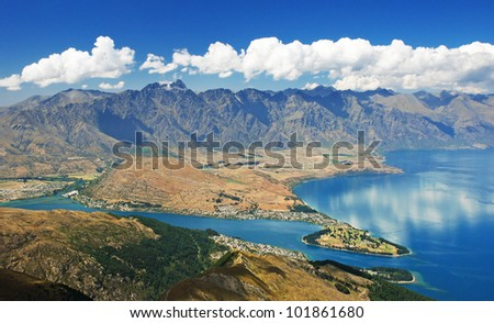 Queenstown and the Remarkables, New Zealand - stock photo