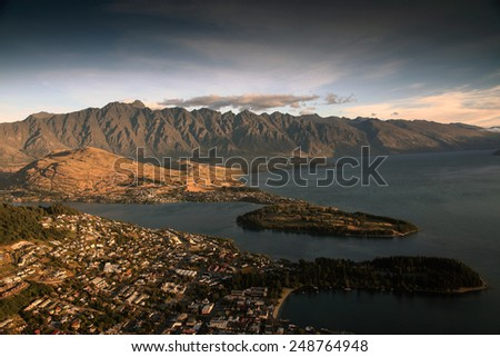 Queenstown at sunset - stock photo