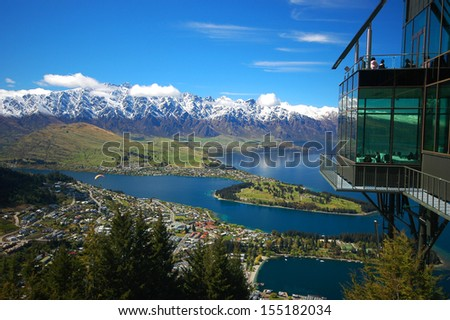 Queenstown dining view from Bob's Peak - stock photo