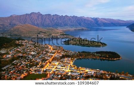 Queenstown downtown aerial view New Zealand at Dusk