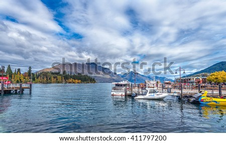 Queenstown, New Zealand - APR 05 2016 : Queenstown is a very famous travel destination in New Zealand - stock photo
