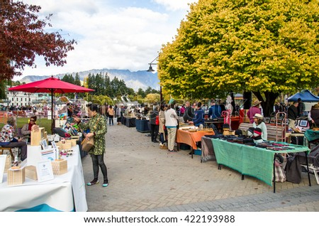 Queenstown,New Zealand - April 22,2016 : Creative Queenstown Arts and Crafts Markets which is located at the lake front at Earnslaw Park in Queenstown. There are selling wide variety of goods. - stock photo