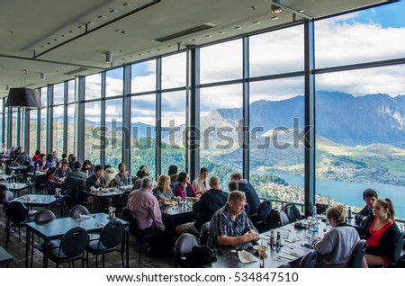Queenstown,New Zealand - April 25,2016 : Panoramic view from the Skylineâ??s Stratosfare Restaurant & Bar, located at the top of the Gondola.