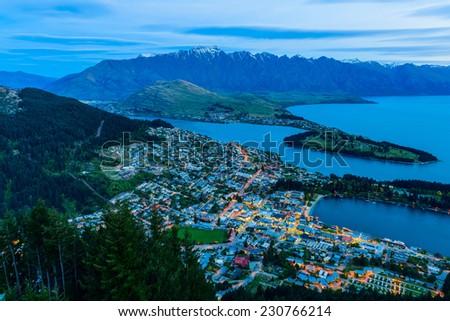 Queenstown New Zealand at twilight - stock photo