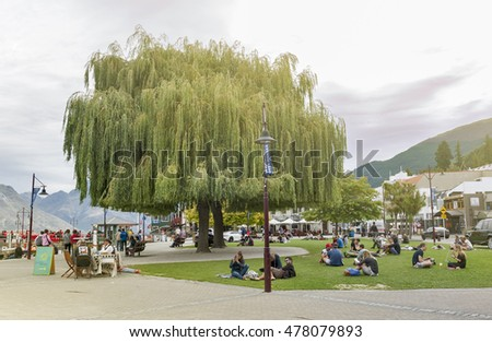 Queenstown, New Zealand - March 2016: Queenstown waterfront by Lake Wakatipu, New Zealand