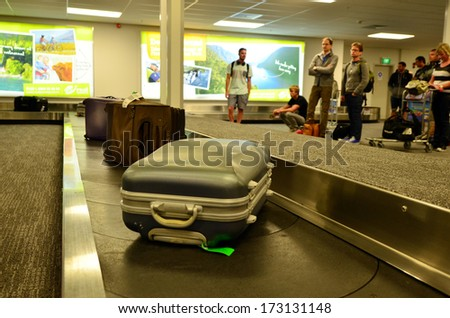 QUEENSTOWN, NZ- JAN 12:Air transport luggage in Queenstown International Airport on Jan 12 2014.In the US, an average of 1 in 150 people have their checked baggage misdirected or left behind each year - stock photo