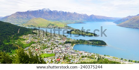 QUEENSTOWN, NZ - Nov 17:Aerial view of Queenstown on November 17 2014.It's one of the most popular travel destination in New Zealand known for it's restaurants, ski tourism and extreme sport adventure