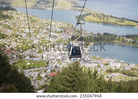 QUEENSTOWN, NZ - NOV 18 :Skyline Gondola on Nov 18 2014.It's the steepest cable car lift in the Southern Hemisphere, and one of the must-do activities in Queenstown, NZ.  - stock photo