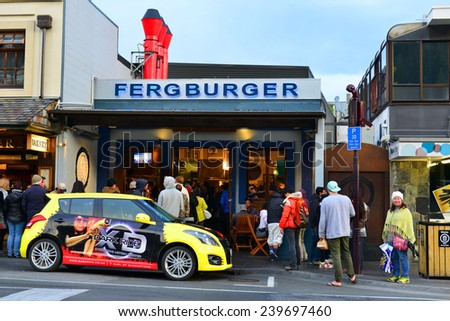 QUEENSTOWN, NZ - Nov18:Visitors in Queenstown Mall on Nov18 2014.It's one of the most popular travel destination in New Zealand known for it's restaurants, ski tourism and extreme sport adventure.  - stock photo