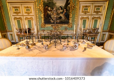 Queluz Portugal - December 9 2017 Vintage table setting with teacup inside of & Queluz Portugal December 9 2017 Vintage Stock Photo (Royalty Free ...
