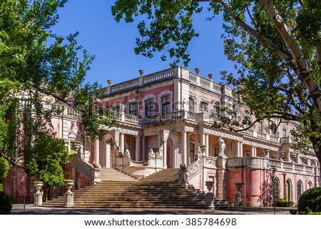 Queluz, Portugal. Lions Staircase (Escadaria dos Leoes) leading to the gardens of the Queluz Palace, Portugal. Formerly used as the Summer residence by the Portuguese royal family. - stock photo