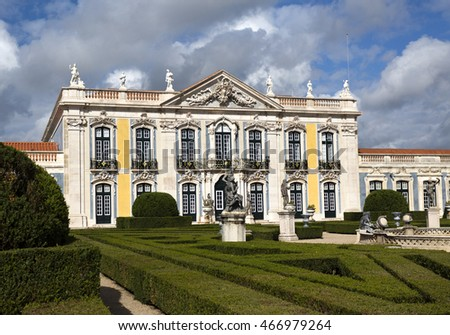 QUELUZ, PORTUGAL - October 26, 2015: The National Palace of Queluz seen from the gardens, on October 26, 2015 in Queluz, Portugal