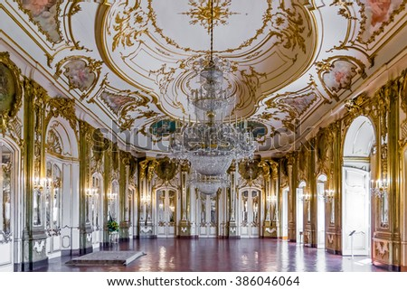 Queluz, Portugal - September 16, 2015: Throne room (Sala do Trono) in the Queluz Palace, Portugal. Formerly used as the Summer residence by the Portuguese royal family. - stock photo