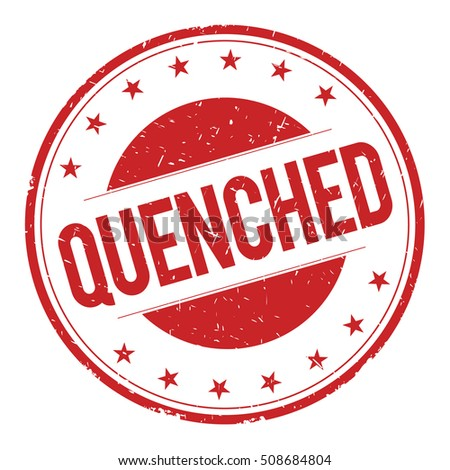 QUENCHED stamp sign text word logo red.