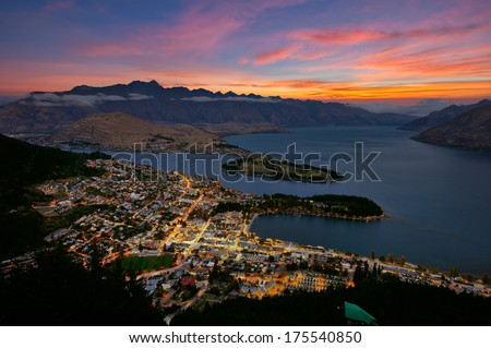 Quennstown city in New Zealand - stock photo