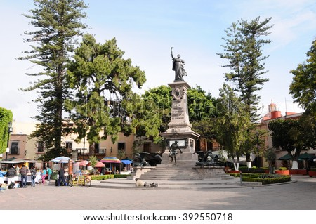 QUERETARO, MEXICO - FEBRUARY 2, 2015: Main place called Josefa Ortiz de Domínguez on January 21, 2015 in Queretaro, Mexico.Josefa Ortiz de Domínguez was a fighter of the Mexican War of Independence