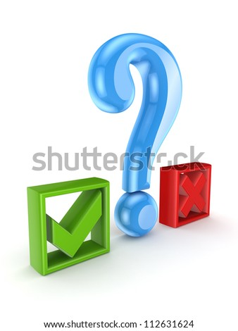 Query mark between tick and cross marks.Isolated on white background.3d rendered. - stock photo