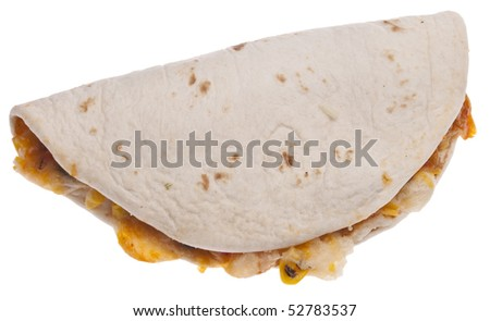 Quesadilla Isolated on White with a Clipping Path.