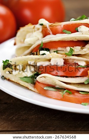 Quesadilla vegetarian wraps made with goat cheese or feta, tomatoes, mozzarella and fresh herbs, Extreme shallow depth of field. - stock photo