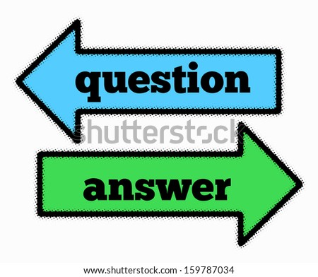 Question and answer signs in blue and green arrows concept - stock photo