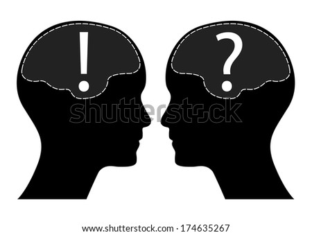 Question and exclamation mark with human head and brain, raster version.