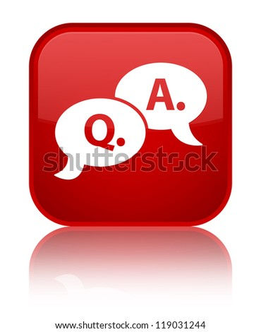 Question answer icon glossy red reflected square button - stock photo