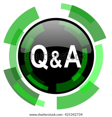 question answer icon, green modern design glossy round button, web and mobile app design illustration - stock photo