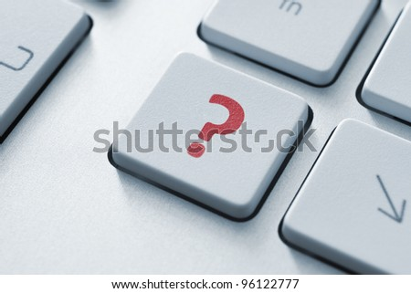 Question button on the keyboard. Toned Image. - stock photo