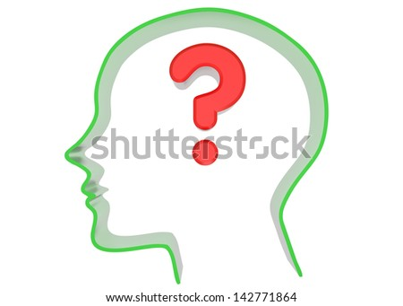 question. 3d green head with red words/symbols. Isolated on white