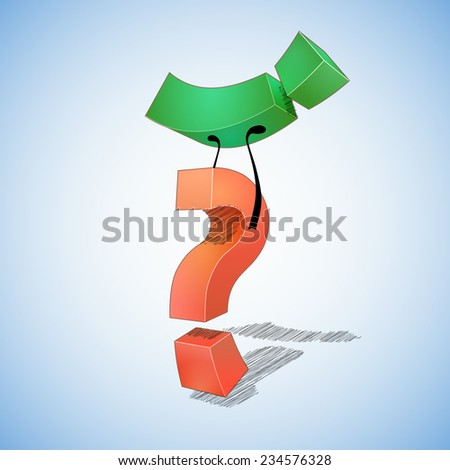 Question  defeated answer. Question mark  defeated exclamation point. - stock photo