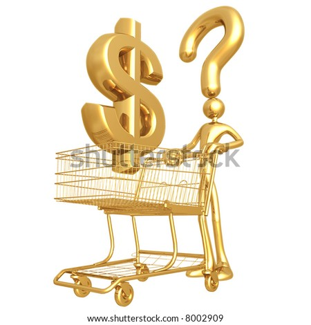 Question Dollar Shopping - stock photo
