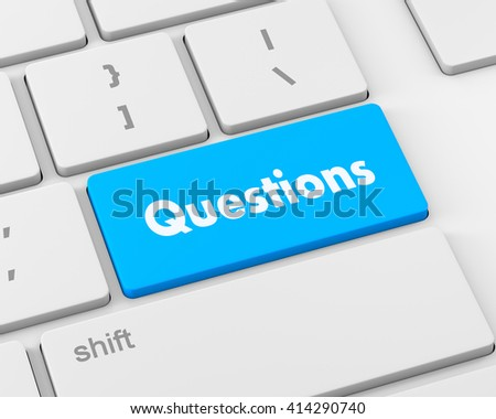 question enter button key on  keyboard, 3d rendering