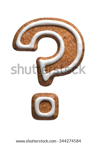 Question. Gingerbread font. Christmas cookies alphabet. - stock photo