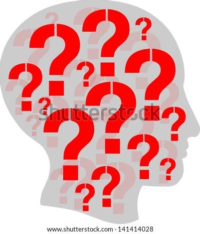 Question head - stock photo