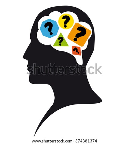 Question in mind - stock photo