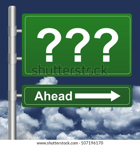 Question Mark Ahead Highway Street Sign on Blue Sky Background - stock photo