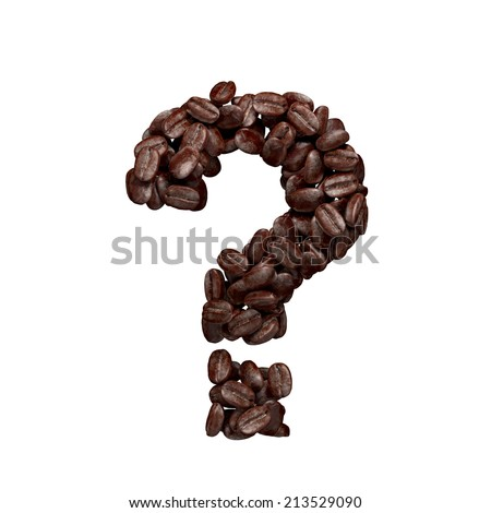 Question mark. Alphabet from coffee beans isolated on white.  - stock photo
