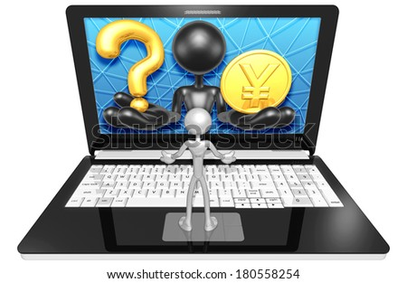 Question Mark And Gold Coin On A Laptop - stock photo