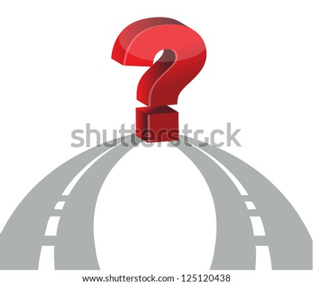Question mark and network of roads illustration design - stock photo