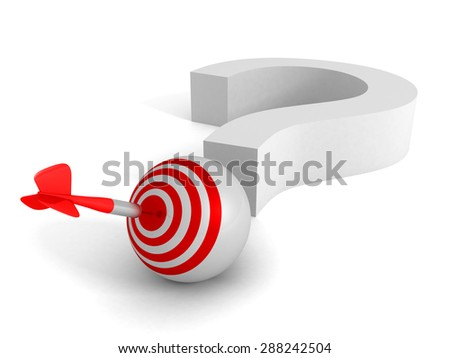 Question Mark And Target Dart Arrow. Success Solution Concept 3d Render Illustration - stock photo