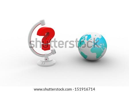 question mark around earth globe - stock photo
