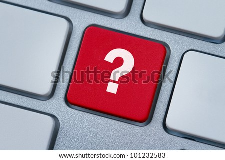 Question mark at the computer key