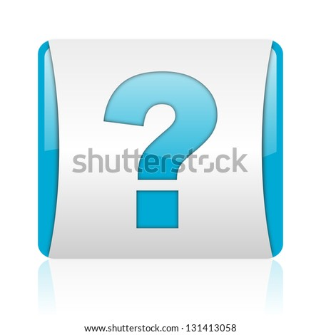 question mark blue and white square web glossy icon - stock photo