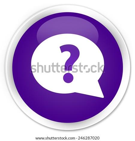 Question mark bubble icon purple glossy round button - stock photo
