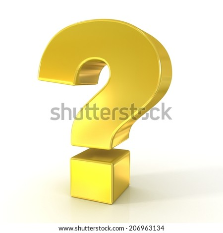 Question mark 3d golden sign isolated on white background  - stock photo