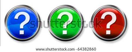 Question Mark 3-D RGB Buttons - stock photo