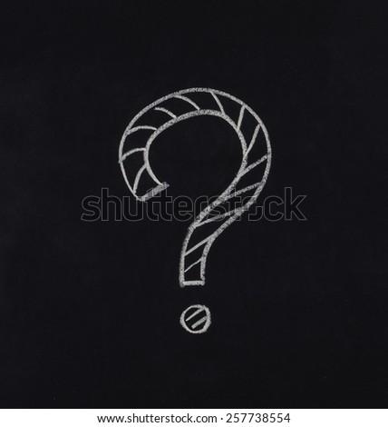 question mark drawn in blackboard - stock photo