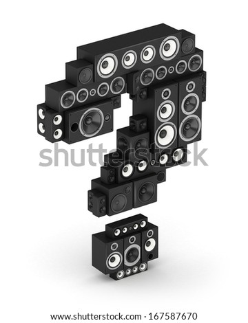 Question mark from black woods hi-fi speakers sound systems in isometry - stock photo
